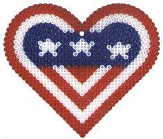 Perler Bead Patriotic Heart Pattern