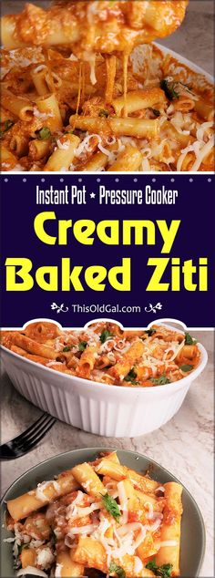 """Pressure Cooker Creamy Baked Ziti with homemade red sauce and three types of cheese is a """"dump and go"""" recipe. The simple homemade pasta sauce really makes this Baked Ziti recipe shine. Easy Baked Ziti, Instant Pot Pasta Recipe, Instant Recipes, Pot Recipe, Baked Pasta Recipes, Best Baked Ziti Recipe, Baked Food, Cheese Recipes, Easy Recipes"""
