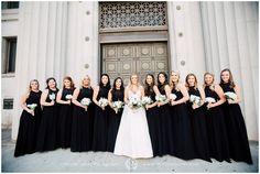 Memphis Cadre Building || Downtown Memphis || Wedding Party Portrait || Bridesmaids || Black Bridesmaid Dresses || Black Dress White Bouquet || Christen Jones Photography || Memphis Wedding Photographer