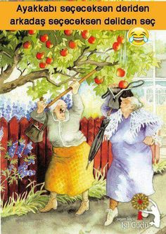 """""""Inge, Look, It's Raining Apples Into Your Bag!""""~ Artist: Inge Look. Bff Abbildungen, Old Lady Humor, Growing Old Together, Whimsical Art, Old Women, Getting Old, Finland, Illustrators, Cool Art"""