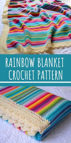 Crayon Box Striped Crochet Blanket Pattern 2019 This rainbow striped crochet blanket pattern is GORGEOUS! The post Crayon Box Striped Crochet Blanket Pattern 2019 appeared first on Yarn ideas. Crochet Afghans, Crochet Blanket Border, Striped Crochet Blanket, Afghan Crochet Patterns, Crochet Blankets, Simple Crochet Blanket, Baby Girl Crochet Blanket, Baby Blankets, Crochet Simple