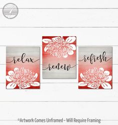Bathroom Art Prints Relax Renew Refresh Abstract Floral  Set of (3) 5x7, 8x10 or 11x14, Red Gray Black, Modern Home Art Prints - Unframed