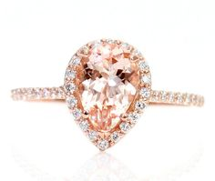Pear Morganite Engagement Ring 14K Rose Gold Diamond by RareEarth