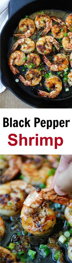 Black pepper shrimp – garlicky and buttery shrimp in a savory black pepper sauce. An easy recipe that takes 20 minutes, so delicious! | rasamalaysia.com