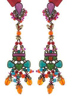 Ohrringe mit Stecker von Konplott -Mandala-Multifarben. Antikmessing.Größe: 7,5 cm