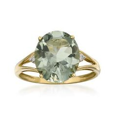 4.00 Carat Green Amethyst Ring With Diamonds in 14kt Yellow Gold