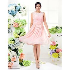 Lanting+Knee-length+Georgette+Bridesmaid+Dress+-+Pearl+Pink+Plus+Sizes+/+Petite+A-line+Jewel+–+USD+$+71.99