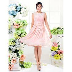 Knee-length Georgette Bridesmaid Dress - Pearl Pink Plus Sizes / Petite A-line Jewel – AUD $ 100.09