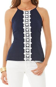 Lilly Pulitzer Annabelle Halter Top in True Navy - This one is pretty also, but the yellow print just rocks. Preppy Mode, Preppy Style, Blouse Styles, Blouse Designs, Mode Inspiration, Nice Tops, Spring Summer Fashion, Passion For Fashion, Dress To Impress