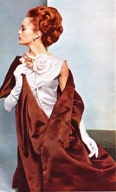 Nina Ricci - 1963 designer evening formal wear dress gown silver white grey satin brown bronze stole wrap gloves hair early 60s photo print ad model