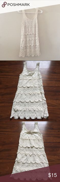 """Urban Outfitters Lace Dress UO Lace Dress. Size XS. Ivory / Off-white Color. I'm 4'10"""", 105 lbs. This dress is super versatile to wear to more casual events like brunch or fancier events. Worn several times but EUC Urban Outfitters Dresses Mini"""