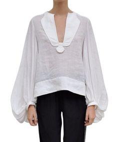 Diane von Furstenberg Spring/Summer 2013 Mallegra blouse in white linnen with wide puffed kimono sleeves