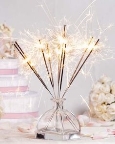Sparkler centerpiece for New Year's Eve party