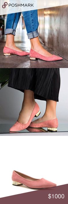 """✨COMING SOON✨ NWT. Blush pink pearl heel flat ✨COMING SOON✨ NWT. Blush pink gold and pearl heel pointed toe flat. It features a pearl heel, faux suede material, pointed toe. About 1"""" heel. True to size. Comes in the original box. COMMENT YOUR SIZE TO RESERVE A PAIR. Shoes Flats & Loafers"""