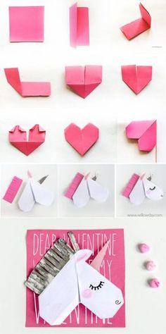 Unicorn Valentine's Day Cards and Unicorn Bookmarks - Cute ideas - Origami Unicorn Diys, Unicorn Crafts, Diy Origami, Oragami, Origami Unicorn Easy, Valentine Day Cards, Valentines Diy, Unicorn Valentine Cards, Kids Crafts