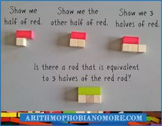 Improper fractions with Cuisenaire Rods Half
