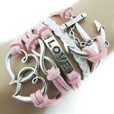 Pooqdo (TM) Fashion Infinity Double Heart Anchor Leather Charm Bracelet Pink Sankuwen