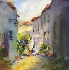 """""""Lumiere Francaise"""" - Original Fine Art for Sale - © by Julie Hill This watercolor painting is on Arches paper mounted on museum archival board, protected with a UV archival varnish. No framing under glass needed. Free display easel is included."""
