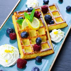 Syn Free Lemon & Blueberry Waffles | Slimming World - Pinch Of Nom