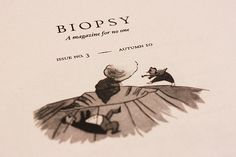 Tiny illustration from Biopsy, printed on newsprint
