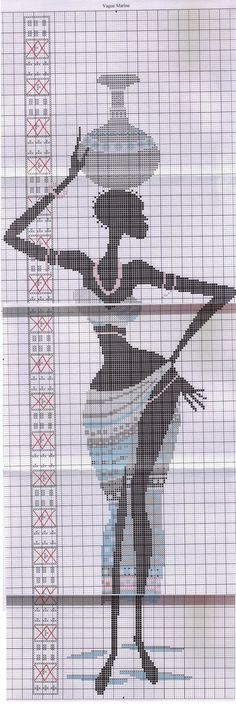0 point de croix africaine avec jarre sur la tete - cross stitch african woman with a jar on her head part 2