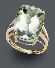 14k Gold Ring, Green Quartz Cushion Cut (12 ct. t.w.) - Rings - Jewelry & Watches - Macy's