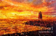 Watercolor Batik Of Charlevoix Lighthouse At Sunset by Ryan Fox