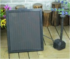 "1.4-Watt Solar Water Pump with 12"" Solar Panel by BeGreenWithSolar.com. $53.99. - Pump with 15ft Cable and 3 Fountain Heads Included. - Approx. Panel Size: 5"" L x 7"" W. No electric power needed. - 5 LED White Light with 9ft cable. - Pumps Water Up to 0.8m High, 250L/hr (66 gal/hr). Looking for efficient, solar powered water pumps for your outdoor space? This solar water pump creates an attractive water fountain in any pond or pool with no electric power needed!        Features: ..."