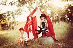 Absolutely adorable! Brother and sister circus lion tamer. Tent.