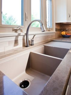 Farm Sink with Drainboard to Decorate Your Kitchen: Cool Stainless Farm Sink With Drainboard And Marble Countertop Ceramic Tiles Backsplash ~ jsdpn.com Kitchen Designs Inspiration