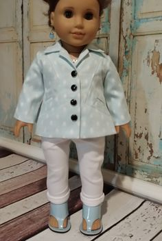 Baby blue swing coat by TrendyWendysETC on Etsy. Made with the LJC Stratford Swing Coat pattern. Find it at http://www.pixiefaire.com/products/stratford-swing-coat-18-doll-clothes. #pixiefaire #libertyjane #stratfordswingcoat