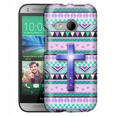 HTC One Remix Cross on Aztec Andes Mauve Teal Slim Case