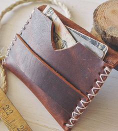 Rugged Brown Leather Card Holder by Stock & Barrel on Scoutmob Shoppe. One sturdy n' good looking wallet.