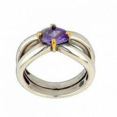 Authentic Pandora Silver Crown Claw Set Amethyst Silver And Gold Ring jewellery uk outlet online store cheap sale