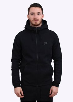 9df86908dae0 Nike Tech Fleece AW77 Hoody - Black Nike Tech Sweater