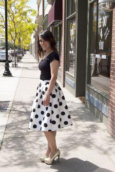 Tara Lynn's Thick Polka Dot Midi Skirt