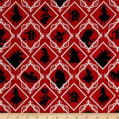 Disney Alice In Wonderland Frames Red from @fabricdotcom  Get ready for a tea-party! Licensed by Disney to Camelot Fabrics, this Alice in Wonderland cotton print collection features all your favorite characters, like Alice, the Cheshire Cat, the Queen of Hearts, and the Mad Hatter. It is of a nice quality, and perfect for quilting, apparel and home décor accents. This is a licensed fabric and is for home use only. Colors include red, black, and white.