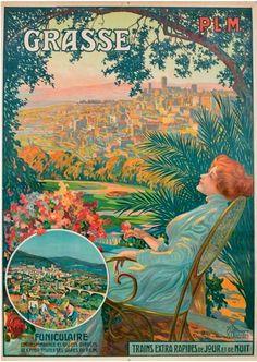 """vintage poster for grasse, funiculaire, """"trains extra rapides de jour et de nuit"""""""