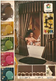 1970s bathroom accessories catalogue - Did they really need to show the man in the tub? Weird.