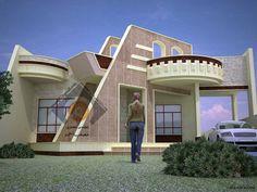 وجهات بيوت عراقية مميزة ( 1) - مكتب المهندس المعماري مصعب أحمد 2 Storey House Design, Duplex Design, Bungalow House Design, House Front Design, Modern House Design, Modern Interior Design, Front Elevation Designs, House Elevation, Circle House