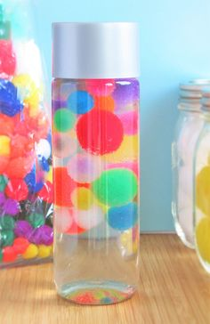 Floating Pom Poms Sensory Bottle