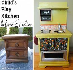 kids kitchen nightstands | DIY: Kids Play Kitchen From a Nightstand | Avery Stuff