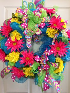 Spring /Summer Mesh Wreath by WilliamsFloral on Etsy, $85.00