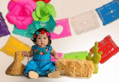 Mexican inspired photoshoot, chiapas dress , Mexican baby Paperflowerphotoshoot papel picado