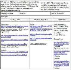 Th Grade Math Unit  Common Core Lesson Plans With Links And