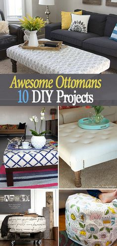 Awesome Ottomans : 10 DIY Projects • Great tutorials and ideas for making an ottoman for putting up your feet or using as extra seating!