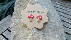 £5 Red toadstool earrings  kitsch woodland by TheCraftyCowShed