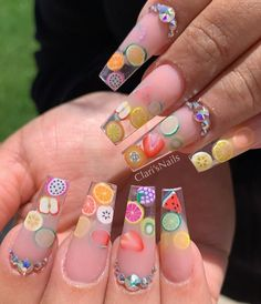 Clear Acrylic Nails, Clear Nails, Polygel Nails, Swag Nails, Fruit Nail Designs, Fruit Nail Art, Fire Nails, Luxury Nails, Perfect Nails