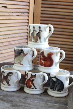 Emma Bridgewater Animal Mugs the fox or otter would be well loved but oh how much you must love for a $40 mug available at Churchmouse Yarns