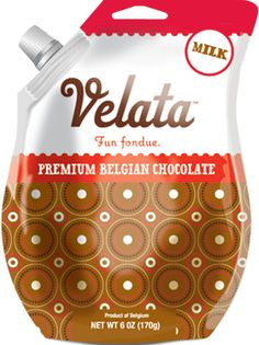 Premium Chocolates   Classically creamy milk chocolate.     Melt the chocolate in its convenient package, twist open the spout, and pour it into your Velata Fondue Warmer. Chocolate fondue has never been simpler.  $7.   Purchase at www.bonniebuckhalt.velata.​us
